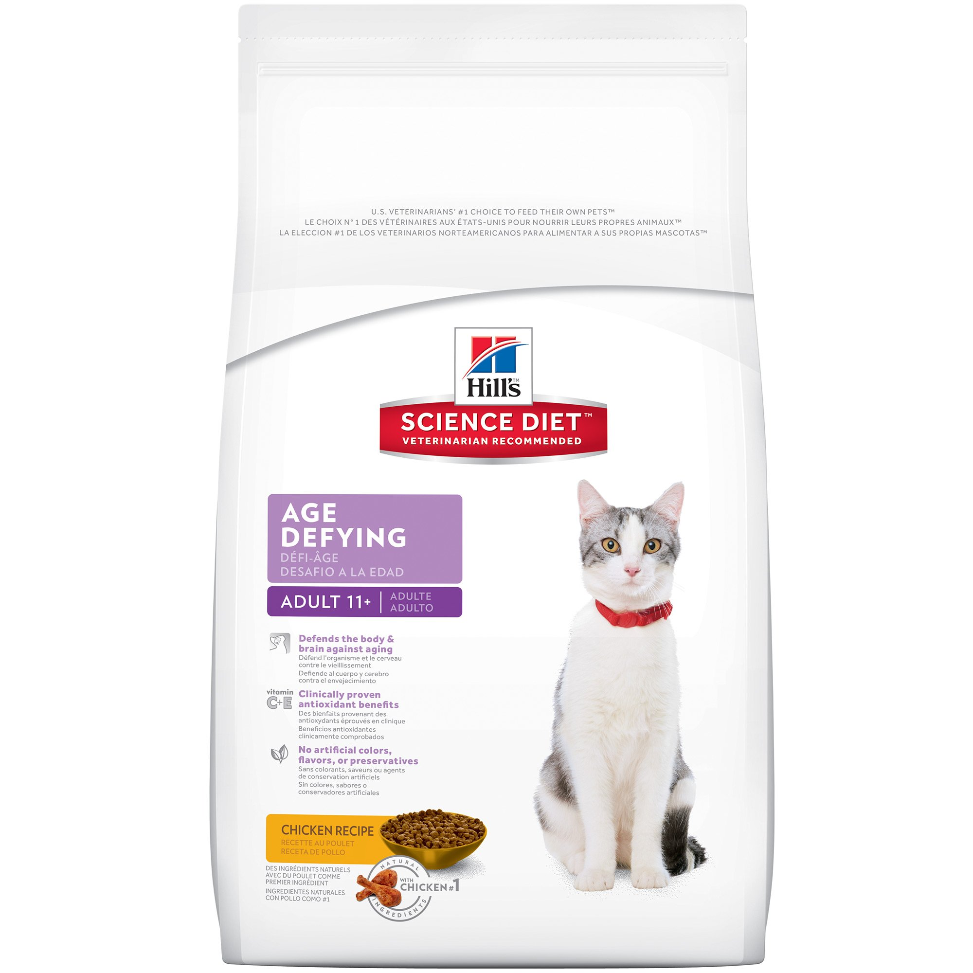 Hill's Science Diet Senior Dry Cat Food, Adult 11+ Age Defying Chicken Recipe Pet Food, 15.5 lb Bag