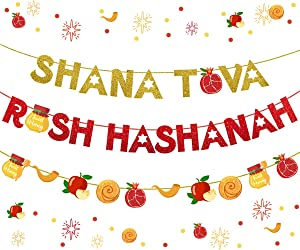 Jewish New Year Decoration Shana Tova Rosh Hashanah Banner Red and Gold Glitter Garland for Jewish High Holy Day Supplies
