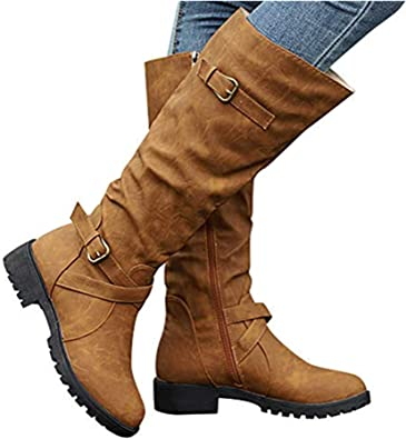 Womens Warm Winter Snow Boot Buckles Strap Knee High Mid Wide Calf Boots Round Toe Shoes