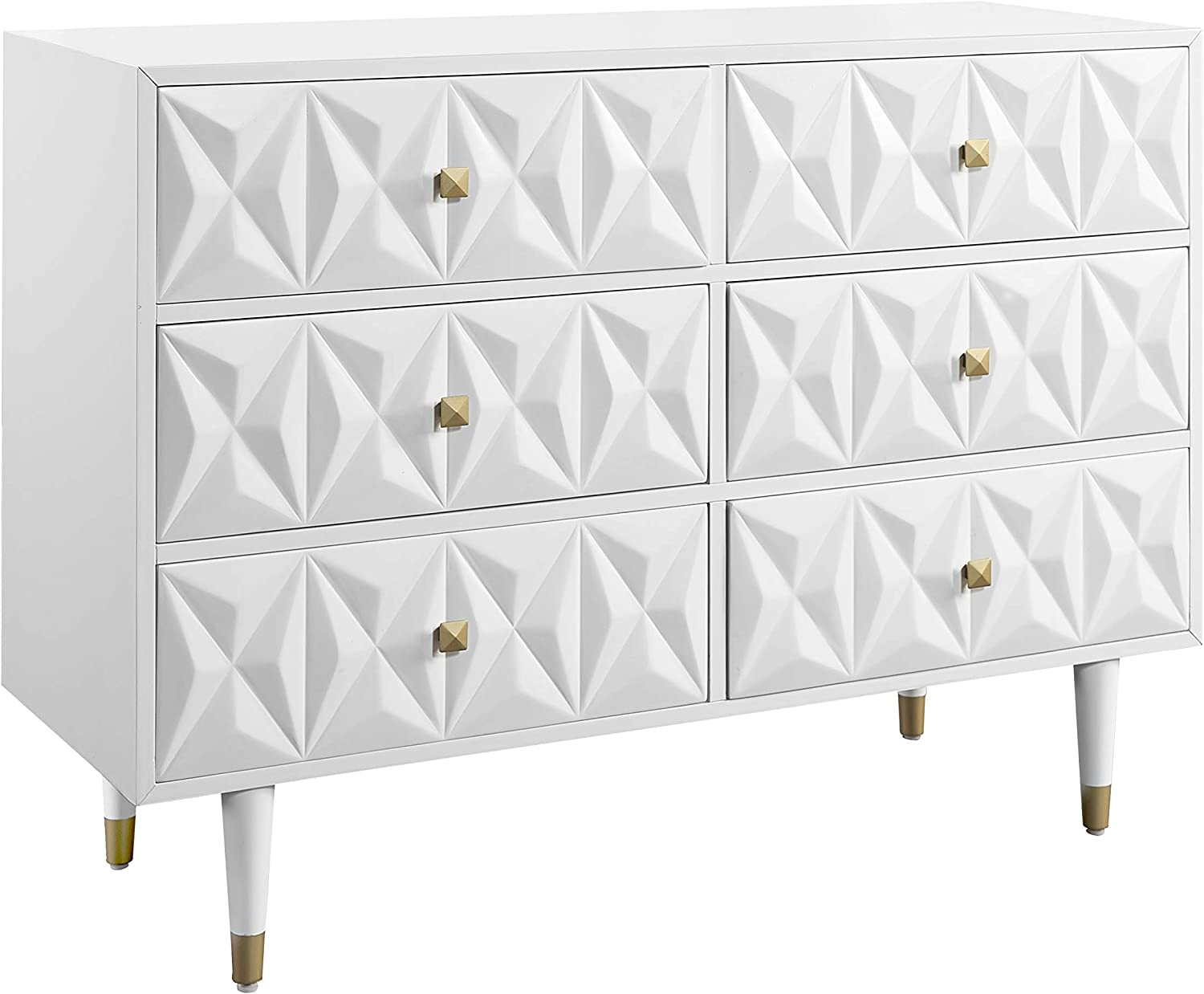 Linon Home Décor Sheerah Six Drawer Geo Texture White Dresser, Gold
