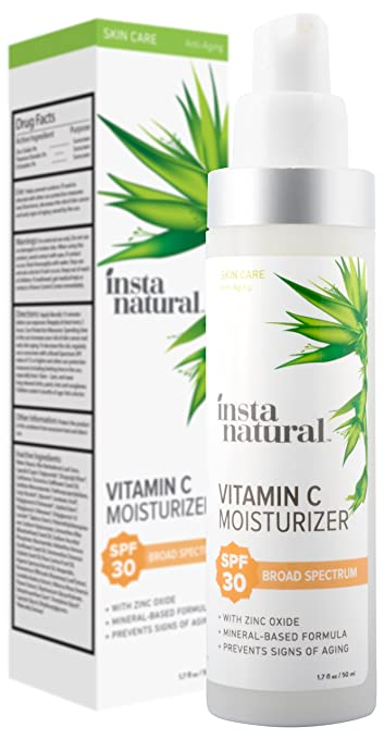 Vitamin C Moisturizer With SPF 30 - Daily Sun Protection For Men & Women - Anti Aging Formula - Hyaluronic Acid & Sunflower Oil - Zinc & Titanium Dioxide To Prevent Sun Damage - InstaNatural - 1.7 OZ