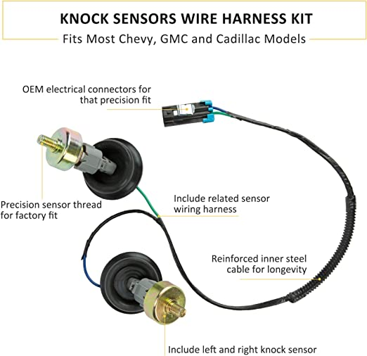 2 Knock Sensor w// Harness Pair Kit for Chevy GMC Silverado Sierra Cadillac Grade