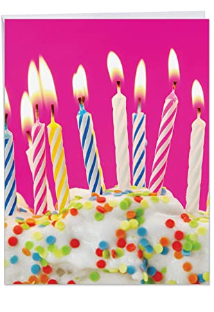 J6555ABDG3 3 Pack Of Jumbo Birthday Greeting Cards Candles With Envelopes Extra