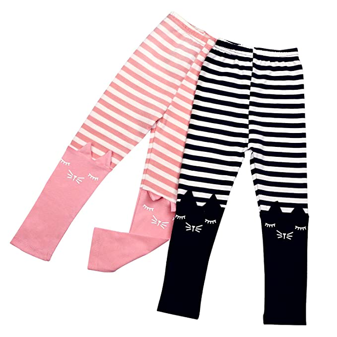 448deaee28c98 2 Pack Girls Pants Baby Toddler Girl Legging Cute Cat Striped Spliced Kids  Pant Cotton Blended