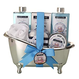 Spa Gift Basket for women,Bath & Body gift sets for her,Luxurious 10 Piece,Includes Bubble Bath, Bath Fizzer,Lotion and More, Best Gift for Mother's Day, Birthday, Chritmas.