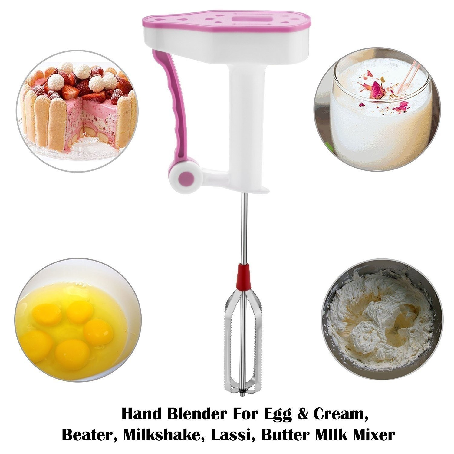 Power Free Hand Blender | Mixer | Milk Frother | Butter Milk Lassi Maker | Hand Free Blender Mixer | Egg Beater | Lassi Butter | Coffee Milk Egg Beater Mixer Shaker by URBANE SHOPPE (Image #5)