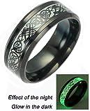 Black Celtic Dragon Rings For Men Women stainless steel Luminou Glow Wedding Band Jewelry