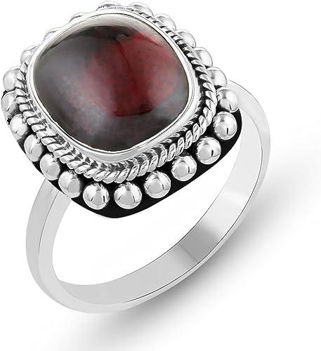 Valentine Gifts for Her Genuine Gemstone .925 Sterling Silver Garnet Ring