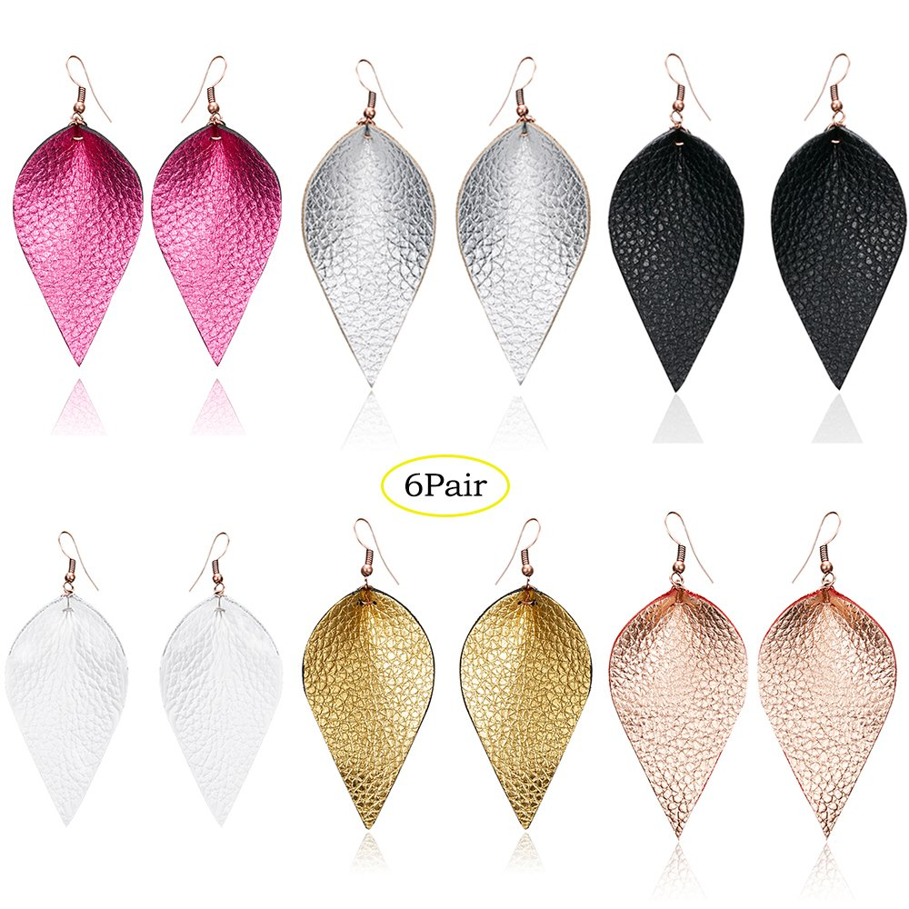 Petal Leather Earrings Teardrop Earrings - Colourful Fuax Leather Leaf Dangle Earrings Handcrafted Geometric Jewelry For Women Grils (6 Pairs) (B)