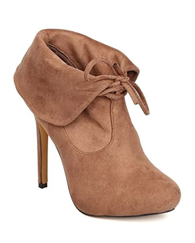 FC04 Women Faux Suede Almond Toe Folded Collar Stiletto Bootie - Taupe