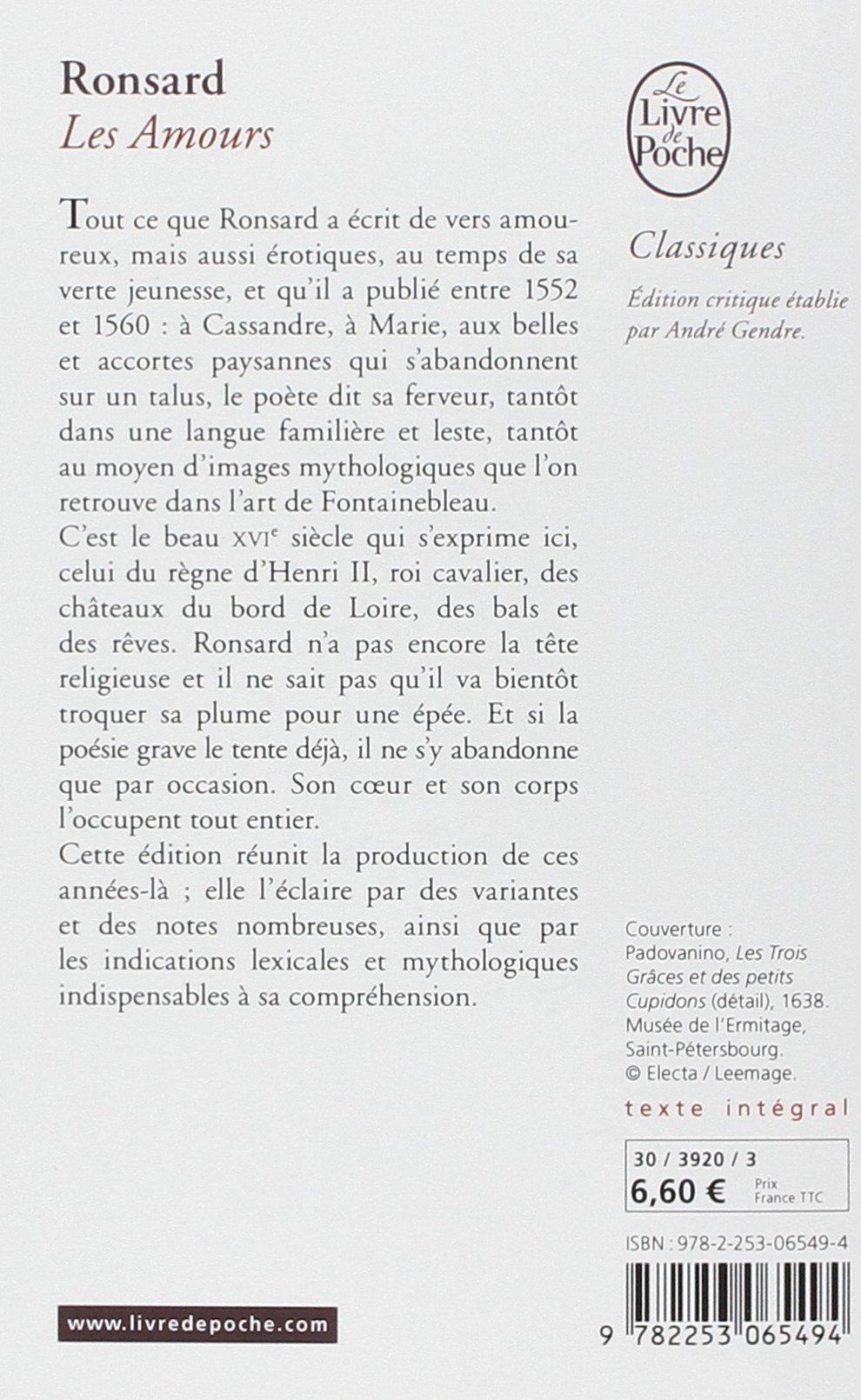 Amazonfr Les Amours Pierre De Ronsard André Gendré