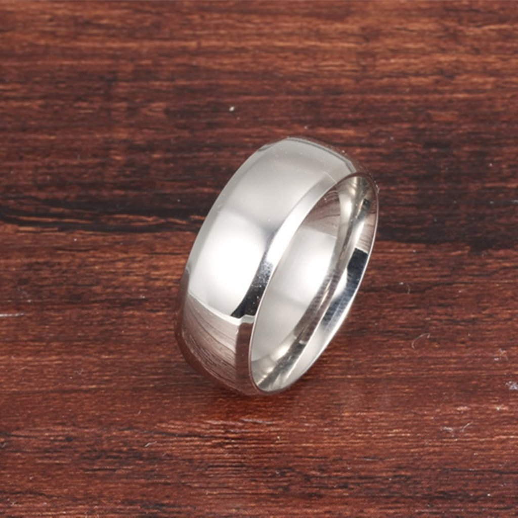 Bishilin Stainless Steel 6MM Women Silver Wedding Band Engagement Rings Size 9