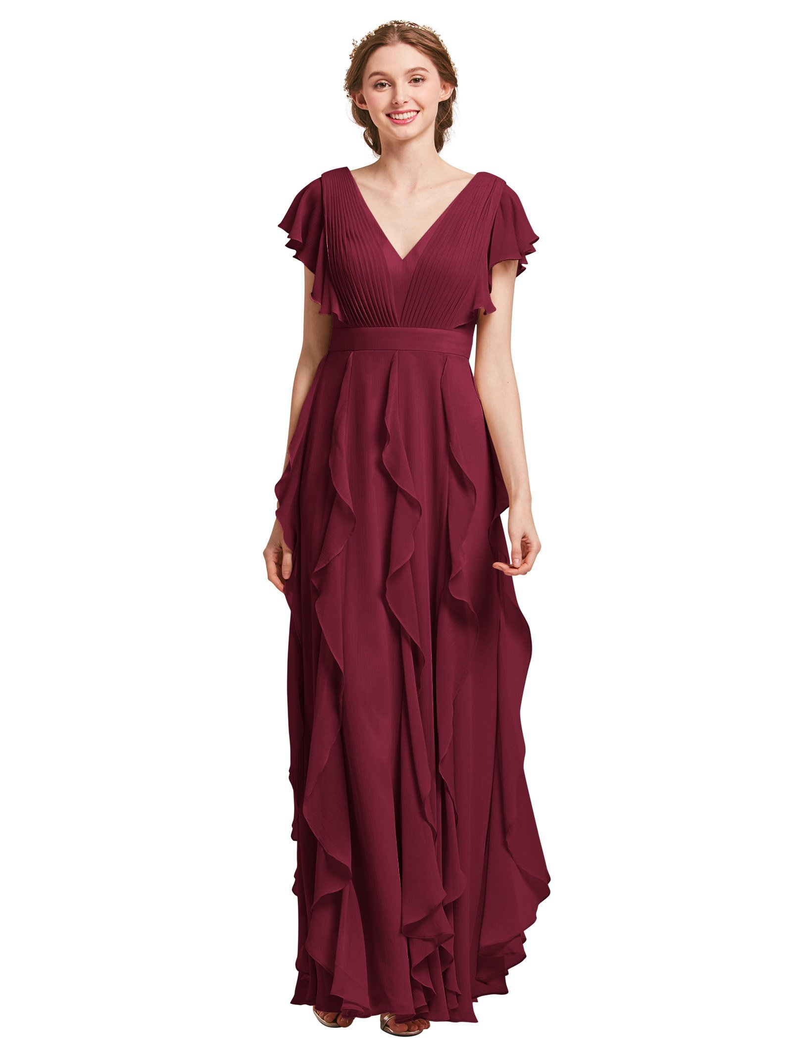 AW Bridal Plus Size Bridesmaid Dresses for Women Formal Dresses with  Sleeves Chiffon Long Gowns and Evening Dresses, Burgundy, US18