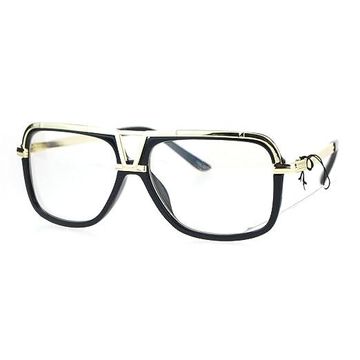 0e8e2c87275 Mens Clear Lens Glasses Fashion Eyeglasses Square Flat Metal Top Black Gold