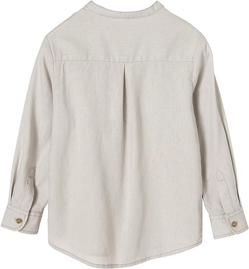 VERTBAUDET Camisa niño Cuello Mao de Lino y algodón Gris Claro ...