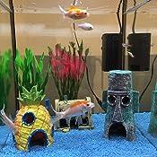HongYH Adorno para acuario, esponja Bob, decoración para pecera, casa de piña, casa de la isla de Pascua y Krusty Krab, resina duradera, seguro para ...