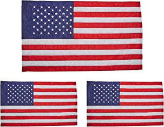 product image for Annin Flagmakers Model 21850 American Flag Nylon SolarGuard NYL-Glo, 2 ½ x 4 ft, 100% Made in USA with Sewn Stripes, Embroidered Stars and Banner-Style Pole Sleeve (Three Pack)