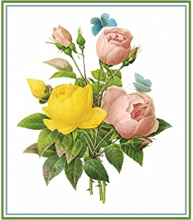 Redoute Flower Illustration of Tulips Bouquet Counted Cross Stitch Chart Pattern