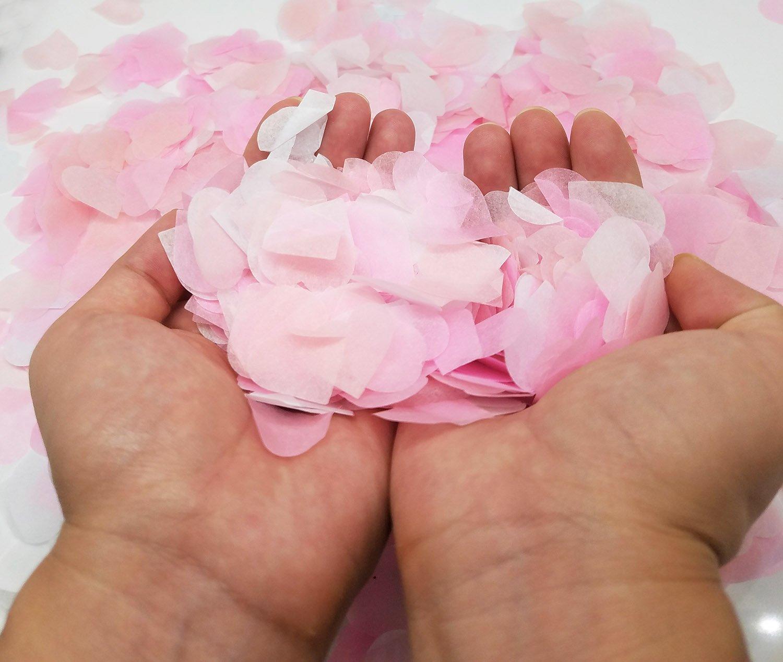 Ldoux 6000 Piezas 1 Pulgada Confeti de Papel Confeti de Seda Corazón Rosa para Decoración de Fiesta de Boda de de Fiesta Confeti de Mesa, 3 Colores