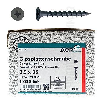 phosphatiert ACP Schnellbauschrauben Grobgewinde 3,9 x 35 mm 9000 St/ück Gipsplattenschraube Einganggewinde PH 2