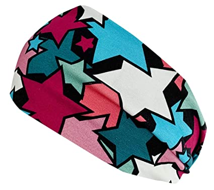 54ac18cac48889 Wollhuhn ÖKO Damen/Mädchen Süßes elastisches COMIC STARS TWIST Haarband/Stirnband  gedreht Pink/