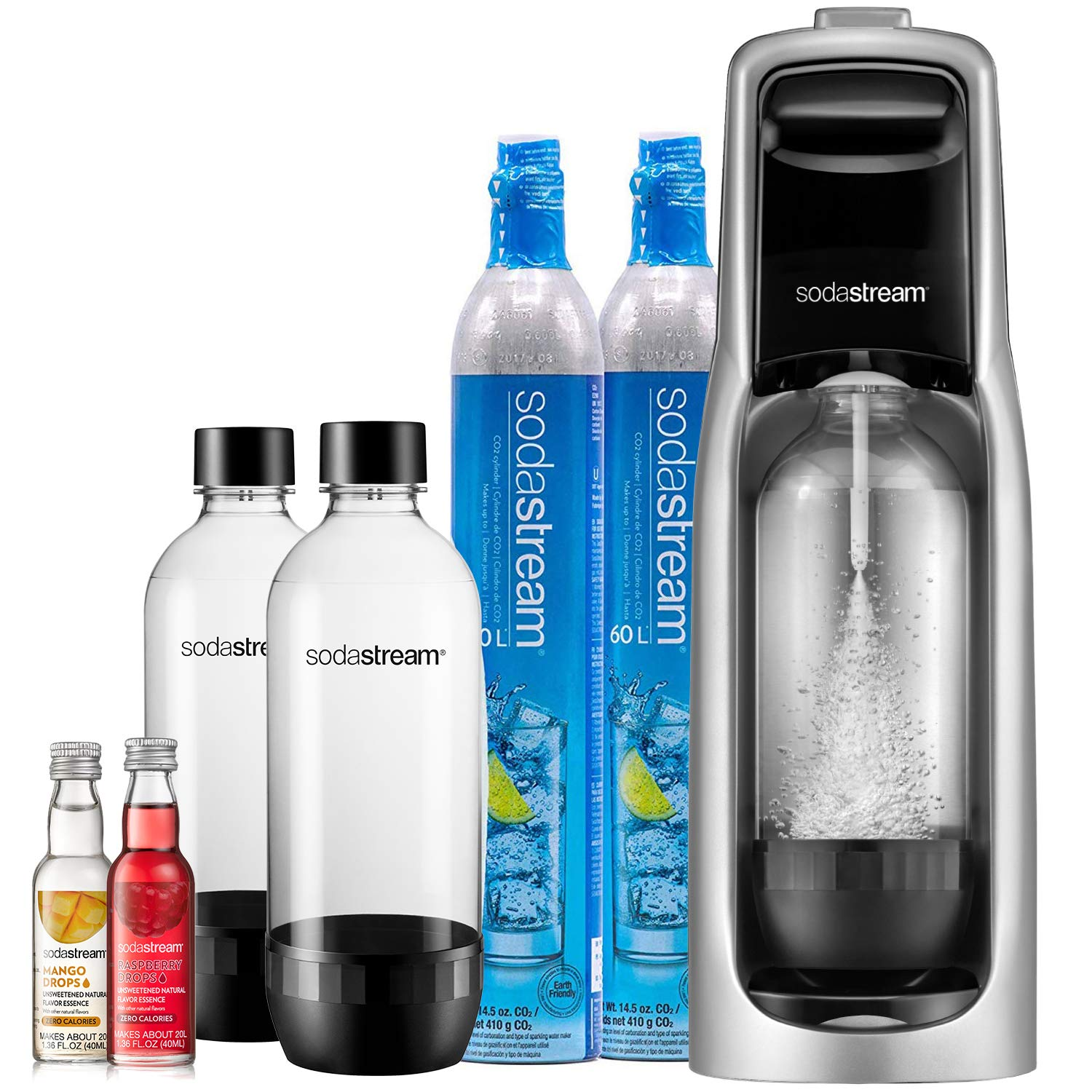 SodaStream Jet Sparkling Water Maker Bundle (Silver) with CO2, BPA free Bottles, and 0 Calorie Fruit Drops Flavors