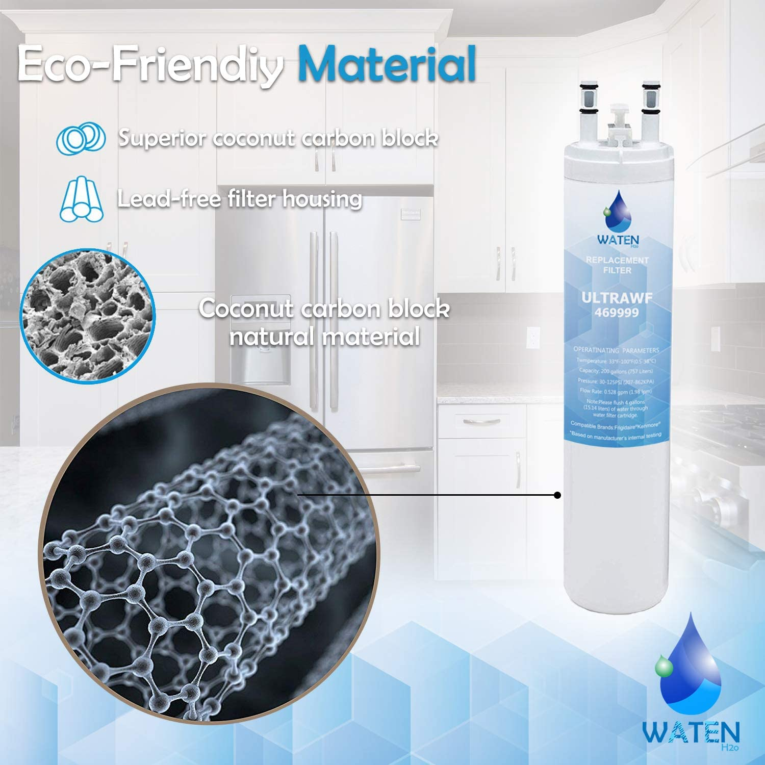 (2-Pack) WATEN H2O ULТRAWF Compatible Refrigerator Water Filter Replacement Pure Source Ultra//9999 White