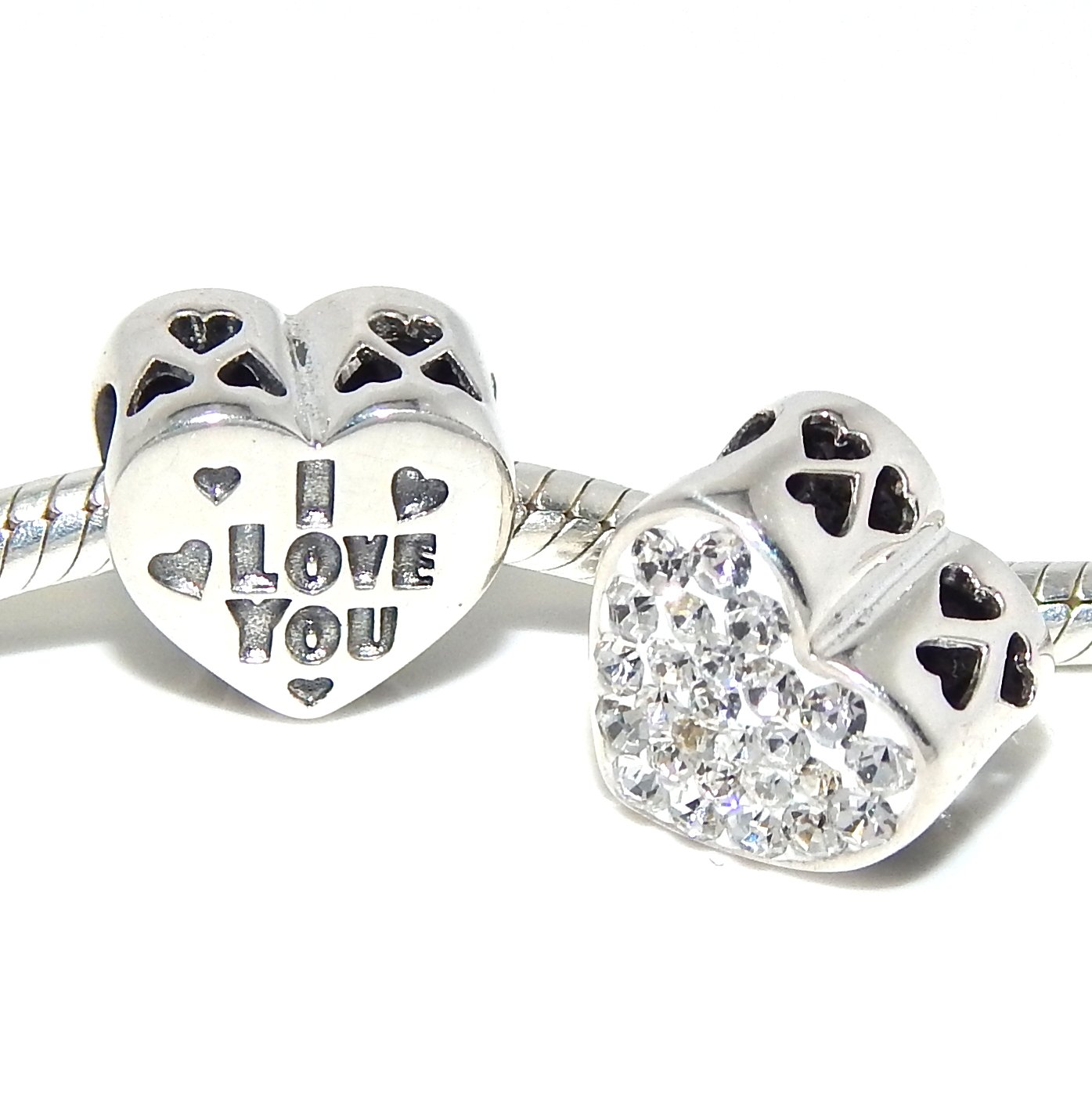 Pro Jewelry .925 Sterling Silver ''I Love You w/ White Crystals'' Heart Charm Bead 4207