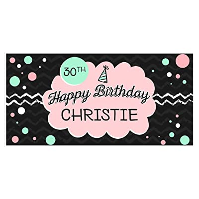 Personalized Birthday Banner Black, Teal and Pink: Handmade