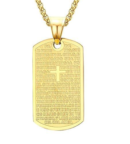 49156c604b7a Adisaer Hombres Collar Joyería de Moda Acero Inoxidable 37.5X2.1CM Oro  Budismo Grabado Colgante Collar  Amazon.es  Joyería