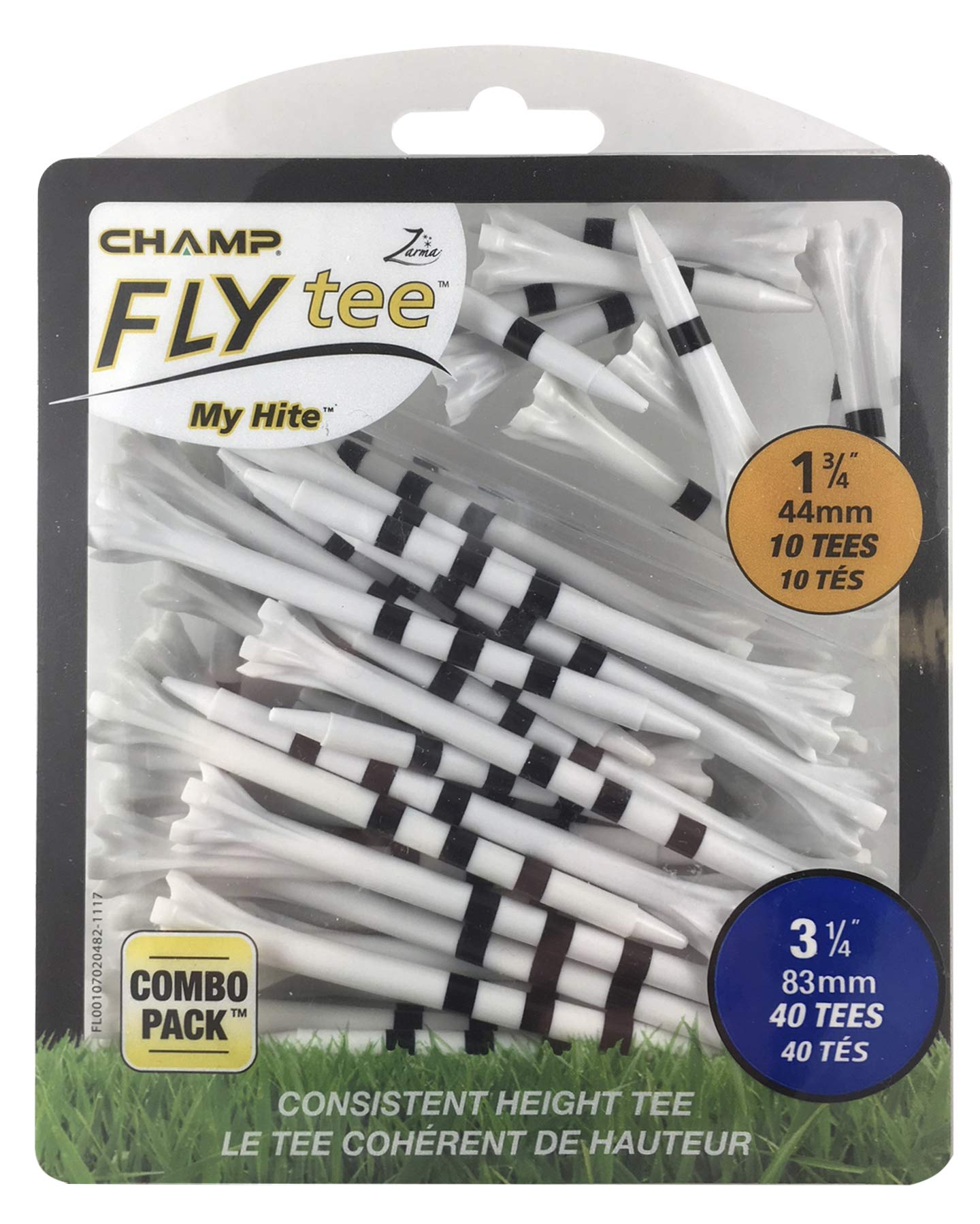 Champ 86505 Zarma Flytee My Hite 3-1/4'' Combo Pack White with Black Stripes Golf Tees by Champ