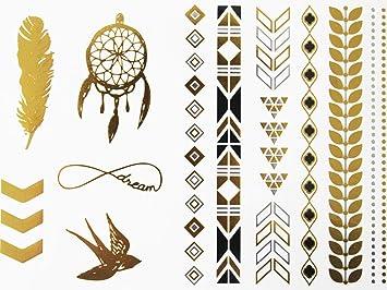 Novoskins artista del tatuaje dorado y plateado de Aluminio para ...