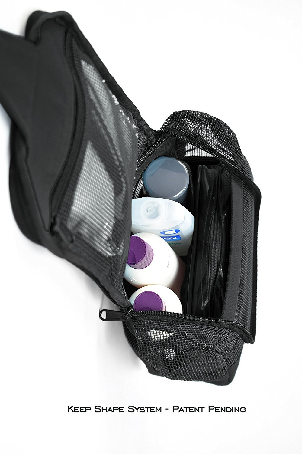 Shower Caddy Case Organizer Tote Nero Black to Hang in The Shower Plus Free Toiletries Bag by The Fine Living Co USA The Fine Living Company CADDY3CSEBLK