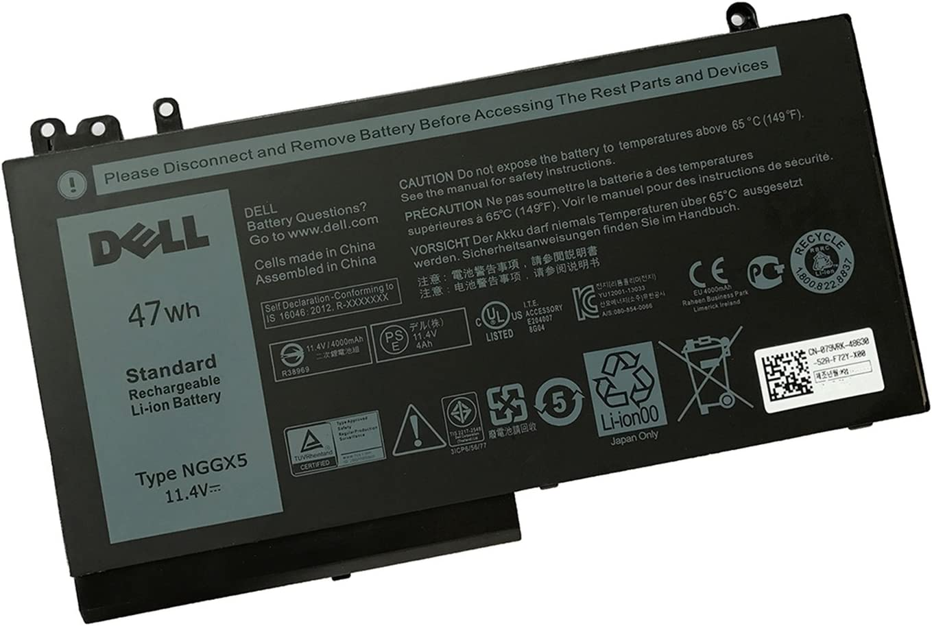 DELL NGGX5 11.4V 47WH Lithium Polymer Battery for Dell Latitude E5270 E5470 E5570 Notebook P/N: JY8D6 954DF 0JY8D6