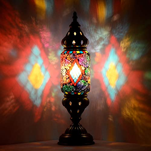 Marrakech Turkish Desk Lamp Handmade Mosaic Glass Table Lamp Moroccan Lantern Tiffany Style Decorative Night Lights with Black Diamond Pattern
