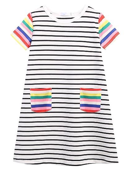 8ab0d88b668fa7 Zaclotrer Little Girls Short Sleeves Dress Summer Casual Pocket Striped  Printed T-Shirt