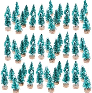 TableRe 50 Pack Miniature Pine Trees Sisal Trees with Wood Base DIY Mini Christmas Trees Desktop Home Decor Christmas Decoration Kids Gift