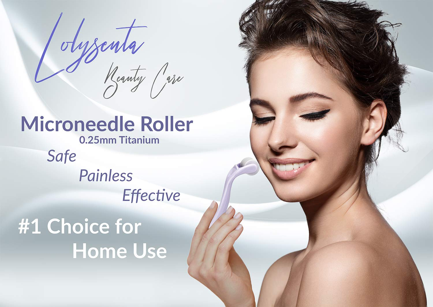 Lolysenta Derma Roller 0 25mm, Titanium Microneedle Roller for Face,  Microdermabrasion Facial Roller,
