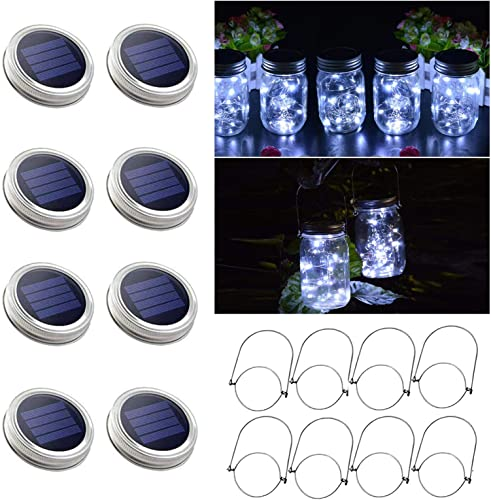 8 Pack Solar Mason Jar Lights, 30 LED White Solar Fairy String Lights Lids with 8 Hangers Jars Not Included , Best for Mason Jar Decor,Outdoor Lawn Patio Garden,Party,Christmas
