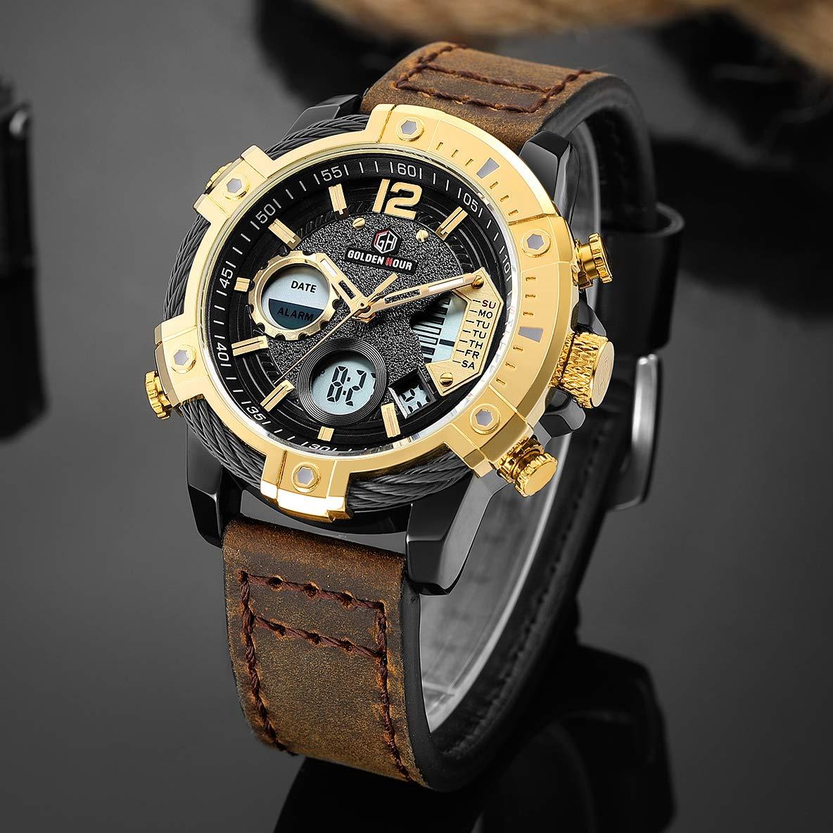 Relojes de Cuarzo Analš®gicos Digitales Deporte para Hombre para Hombres cronš®grafo Militar Reloj Impermeable (Gold-120): Amazon.es: Relojes