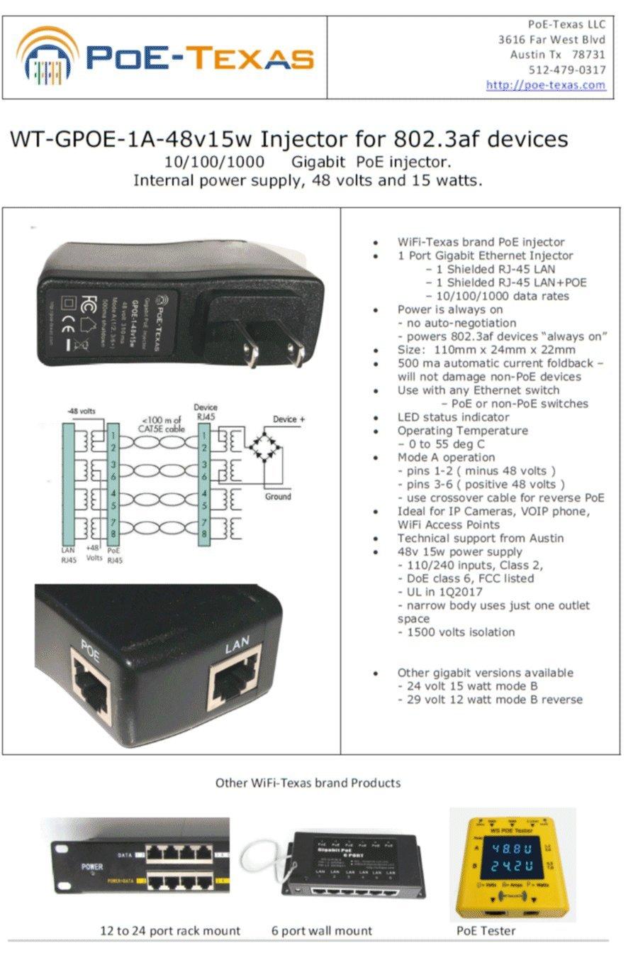 Wifi Texas Wt Gpoe 1a 48v15w Gigabit Poe Injector Kabel Spliter Splitter 1set Instantly Upgrade To 8023af Power Over Ethernet Extend Up 328 Feet Using