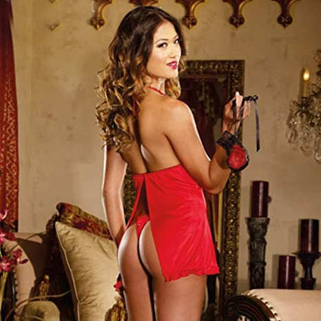 d12fe1d38f393 SANFASHION Lingerie Women Sexy Underwear Babydoll Sleepwear Lace Dress  G-String Set  Amazon.co.uk  Clothing