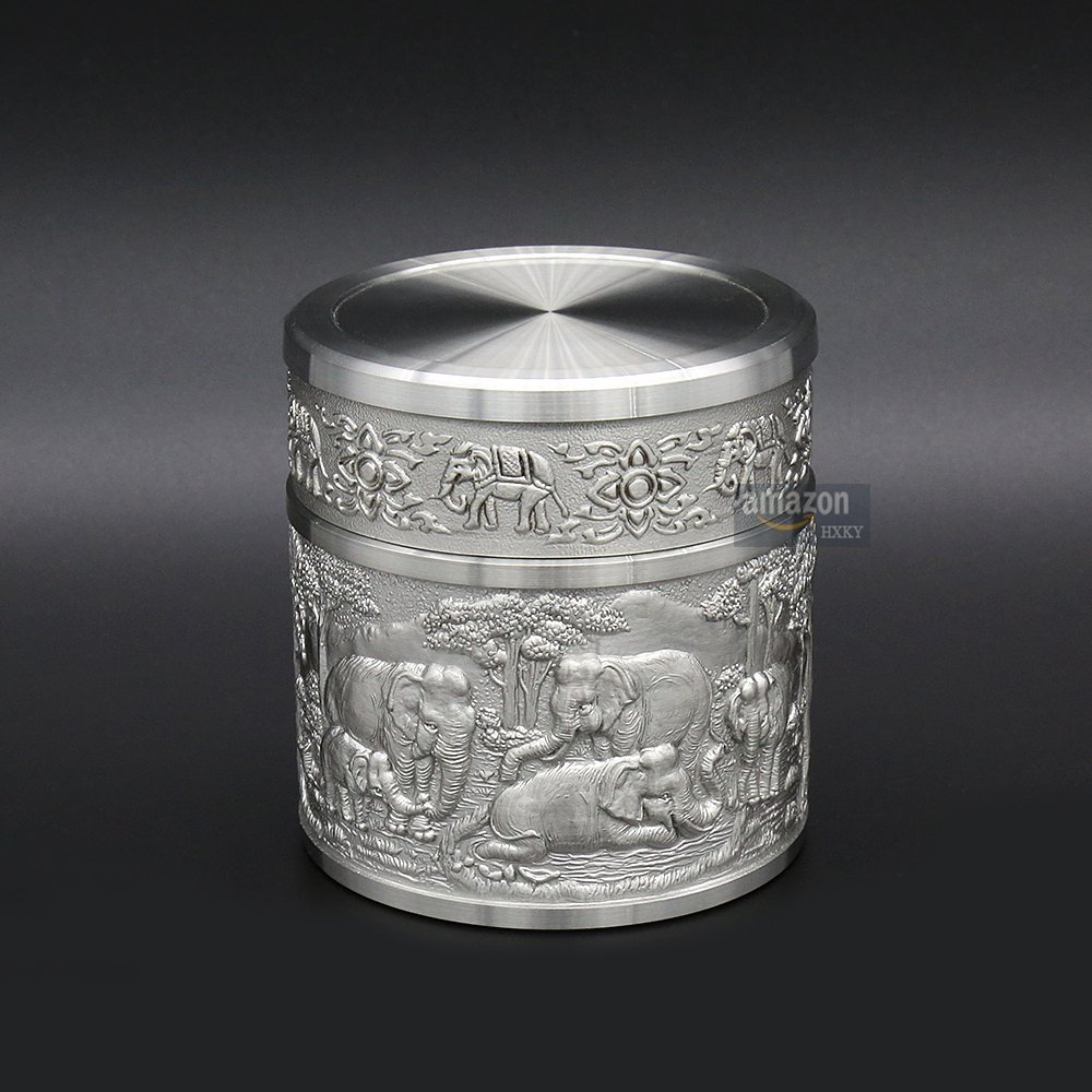 Oriental Pewter - Pewter Tea Storage, Caddy -TPCS- Hand Carved Beautiful Embossed Pure Tin 97% Lead-Free Pewter Handmade in Thailand by Oriental Pewter (Image #2)