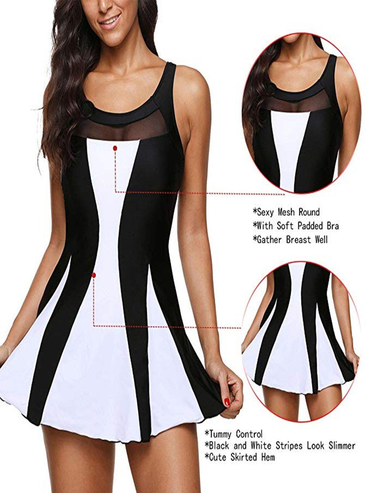 Century Star Women's Elegant Dress One Piece Boy-Leg Bathing Suit Swimdress Printed Swimwear Swimsuits Black White XL(US 12-14) by Century Star (Image #5)