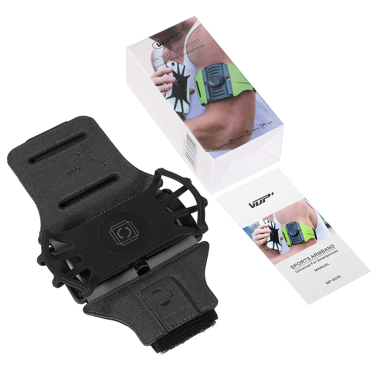 VUP Running Armband for iPhone Xs Max//Xs//XR// 8 Plus// 7 Plus// 6s Plus Note 4//5//8//9 Google Pixel 3//2 XL Black2 Galaxy S10 Plus// S9 Plus// S8 180/°Rotatable Phone Armband for Hiking Biking Walking