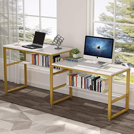 Tribesigns 94 48 Inches Two Person Desk Double Computer Desk Sit And Standing Desk For Two Person Simple Writing Office Desk In Rustic Finish For