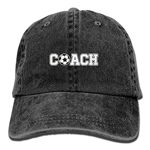 a165cd28a93 RZM YLY s Soccer Coach Unisex Adult Vintage Washed Denim Adjustable  Baseball Cap at Amazon Men s Clothing store