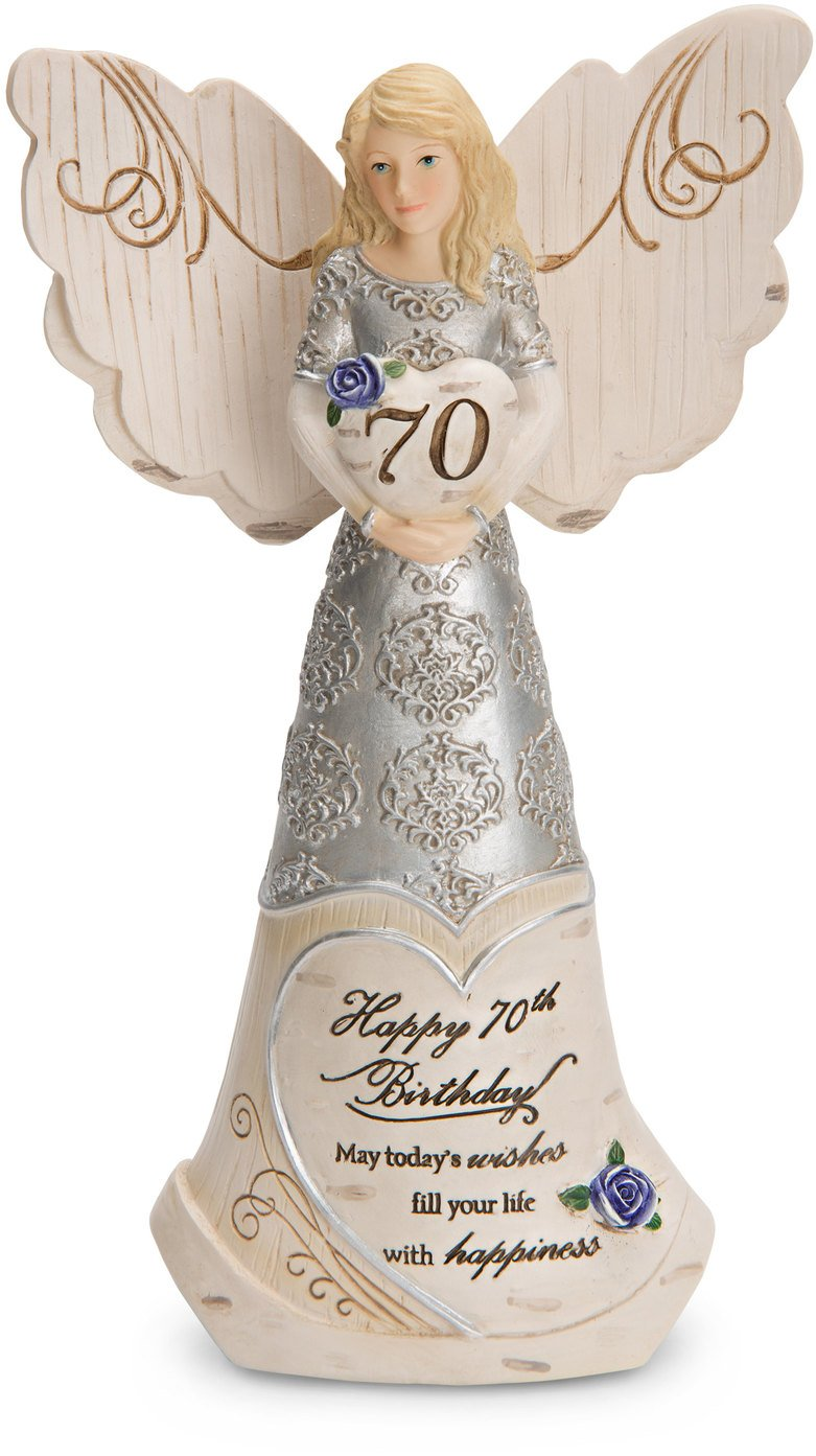 Pavilion Gift Company 82416 Elements Angels - Happy 70th Birthday May Today's Wishes Fill Your Life with Happiness 6'' Angel Figurine by Pavilion Gift Company