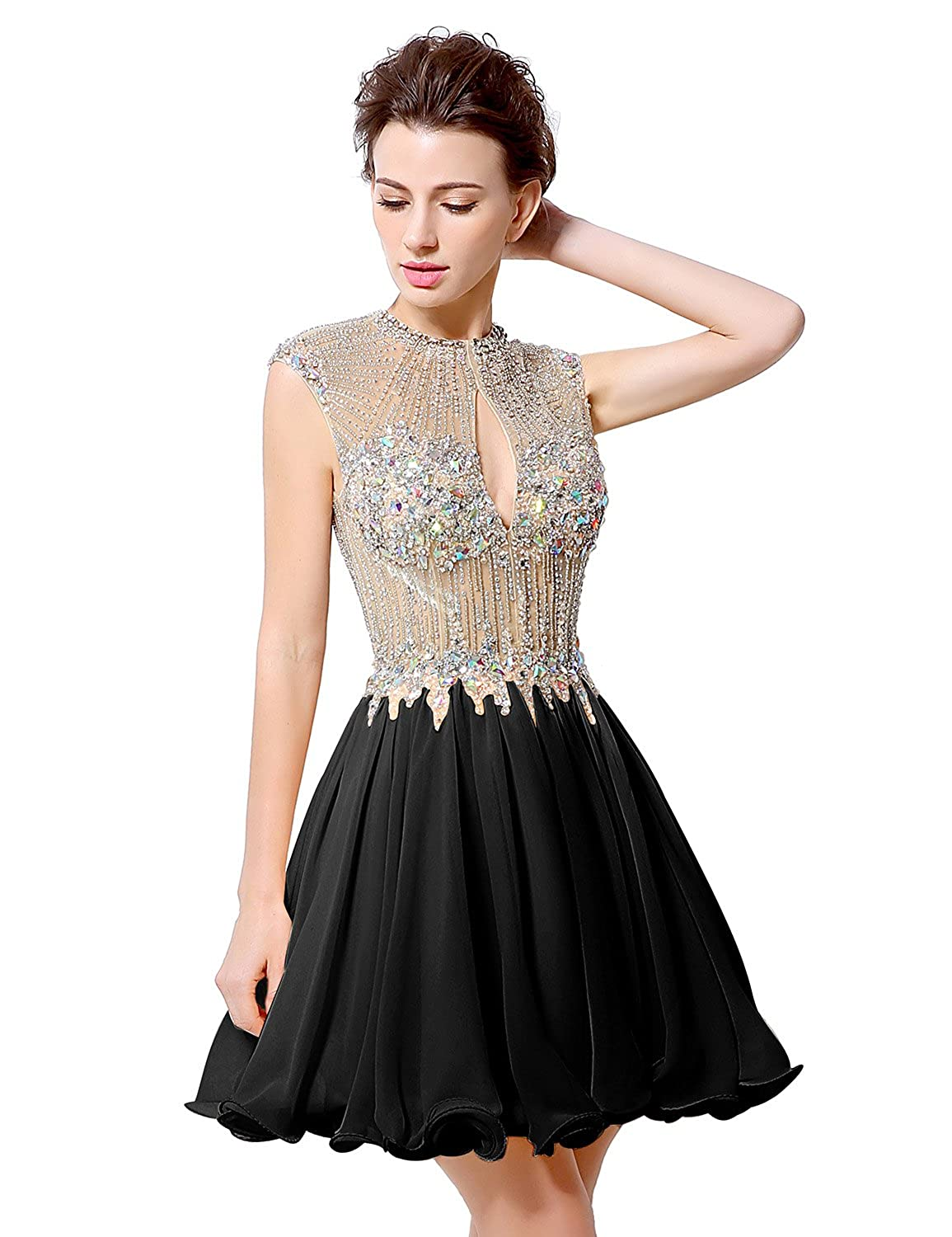 Clearbridal Women's Ladies Beading Party Prom Dress Chiffon High Neck Backless Short Homecoming Cocktail Gowns LX012