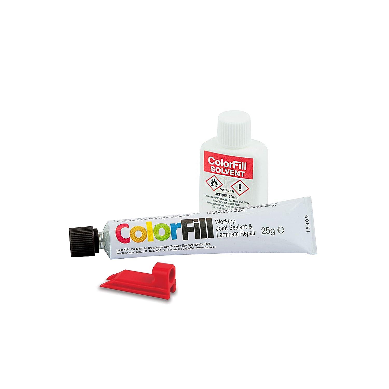 Unika Colorfill Dichtstoff/Reparatur und Lö sungsmittel fü r Verbindungen von Arbeitsplatten, Mittelgrau BP256-AZ